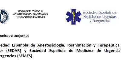 Comunicado conjunto de SEDAR y SEMES tras la publicación del plan de transición del Ministerio de Sanidad.