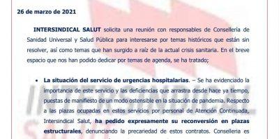 Intersindicalsalut solicita una reunión con responsables de Consellería para abordar el problema histórico de RRHH en los Servicios de Urgencia Hospitalaria
