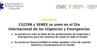 El Consejo General de Colegios Oficiales de Médicos y SEMES se unen en el Día Internacional de las Urgencias y Emergencias
