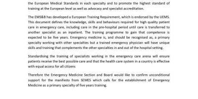 Apoyo de UEMS a la creación de la especialidad primaria de Urgencias y Emergencias en España